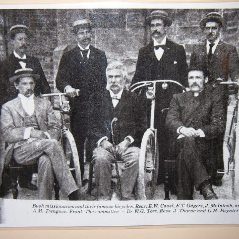 Revd John Thorne with the Bush Missionaries and their bicycles