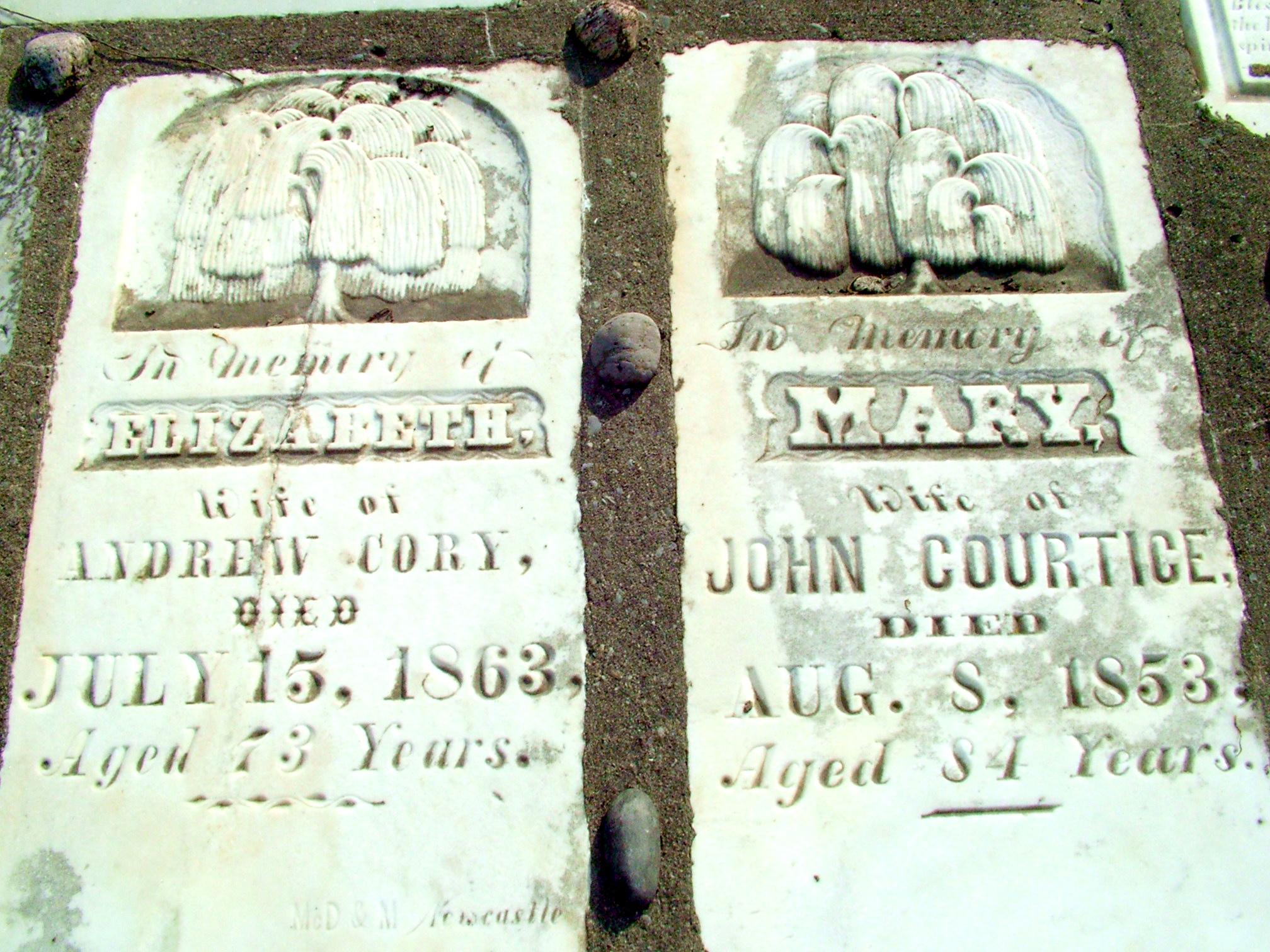 Tombstone at Elizabeth Street Pioneer Cemetery - Elizabeth Courtice Cory (1790-1863)