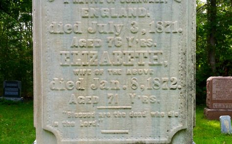 Tombstone at Canton Cemetery - Elizabeth Trick Henwood (1801-1872)