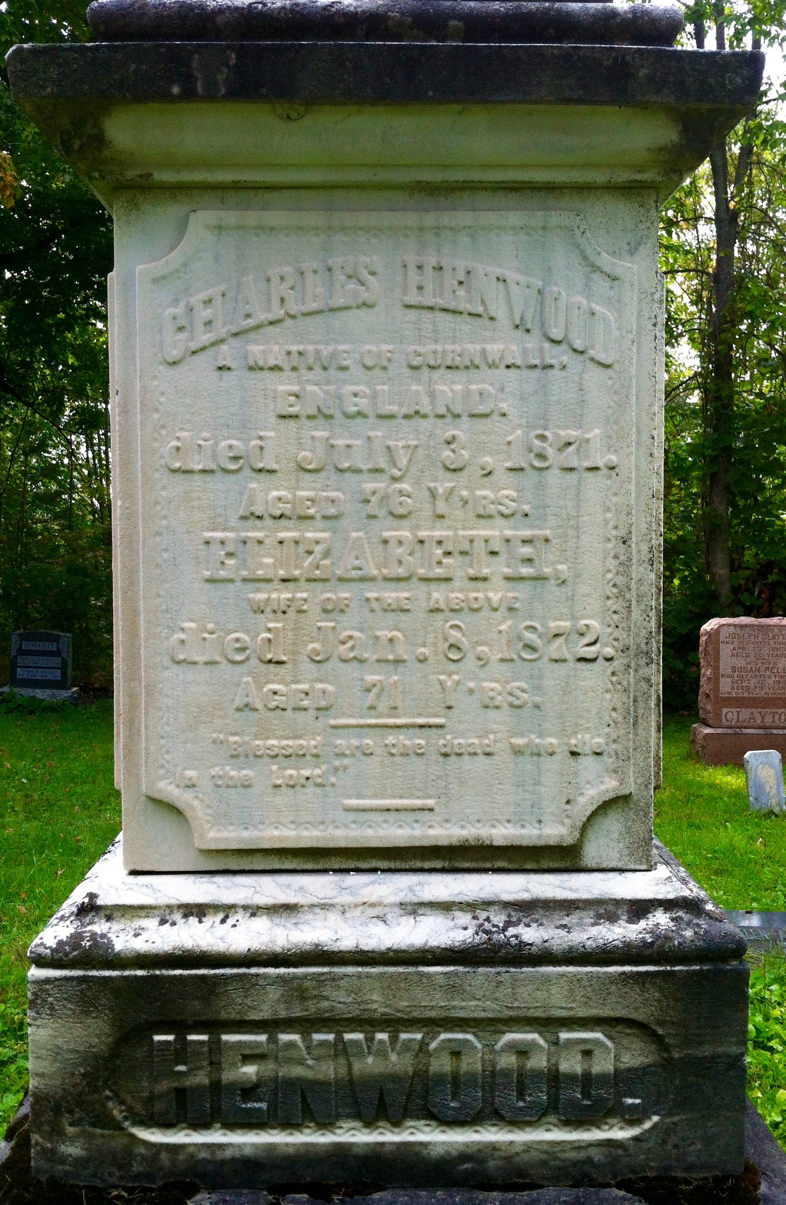Tombstone at Canton Cemetery - Elizabeth Trick Henwood (1801-1872)
