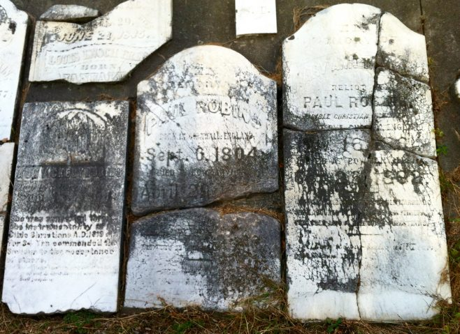 Tombstones at Providence Cemetery - Ann Vickery Robins, Mary Ann Taylor Robins and Paul Robins | J. Bowen 8 Sep 2015