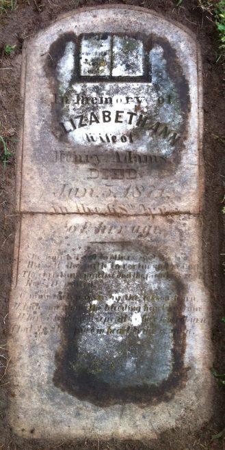 Tombstone for Elizabeth Ann Sinclair Adams (1803-1871) Strathroy Cemetery | J. Bowen 29 Sep 2015