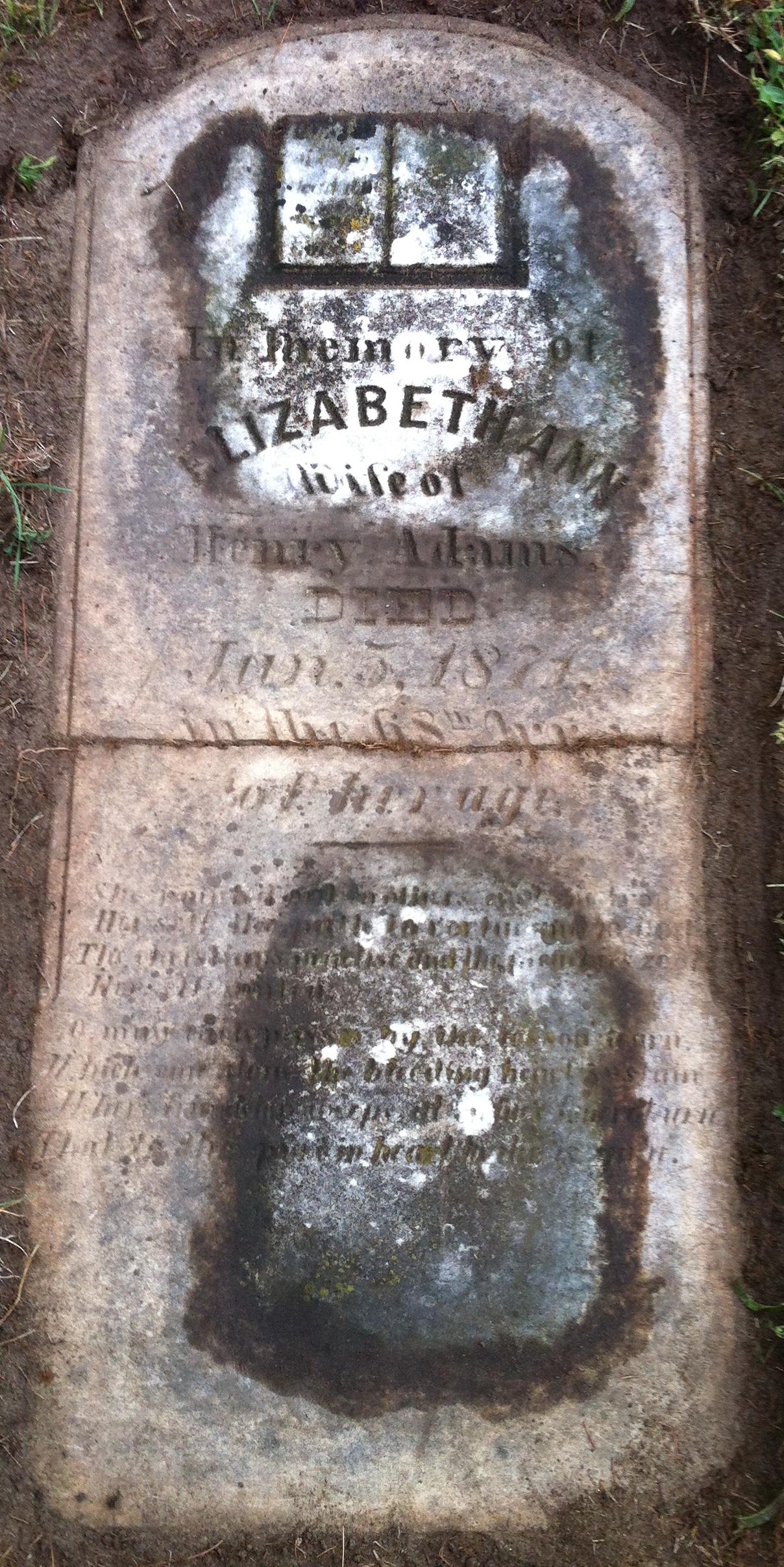 Tombstone at Strathroy Cemetery - Elizabeth Ann Sinclair Adams (1803-1871)