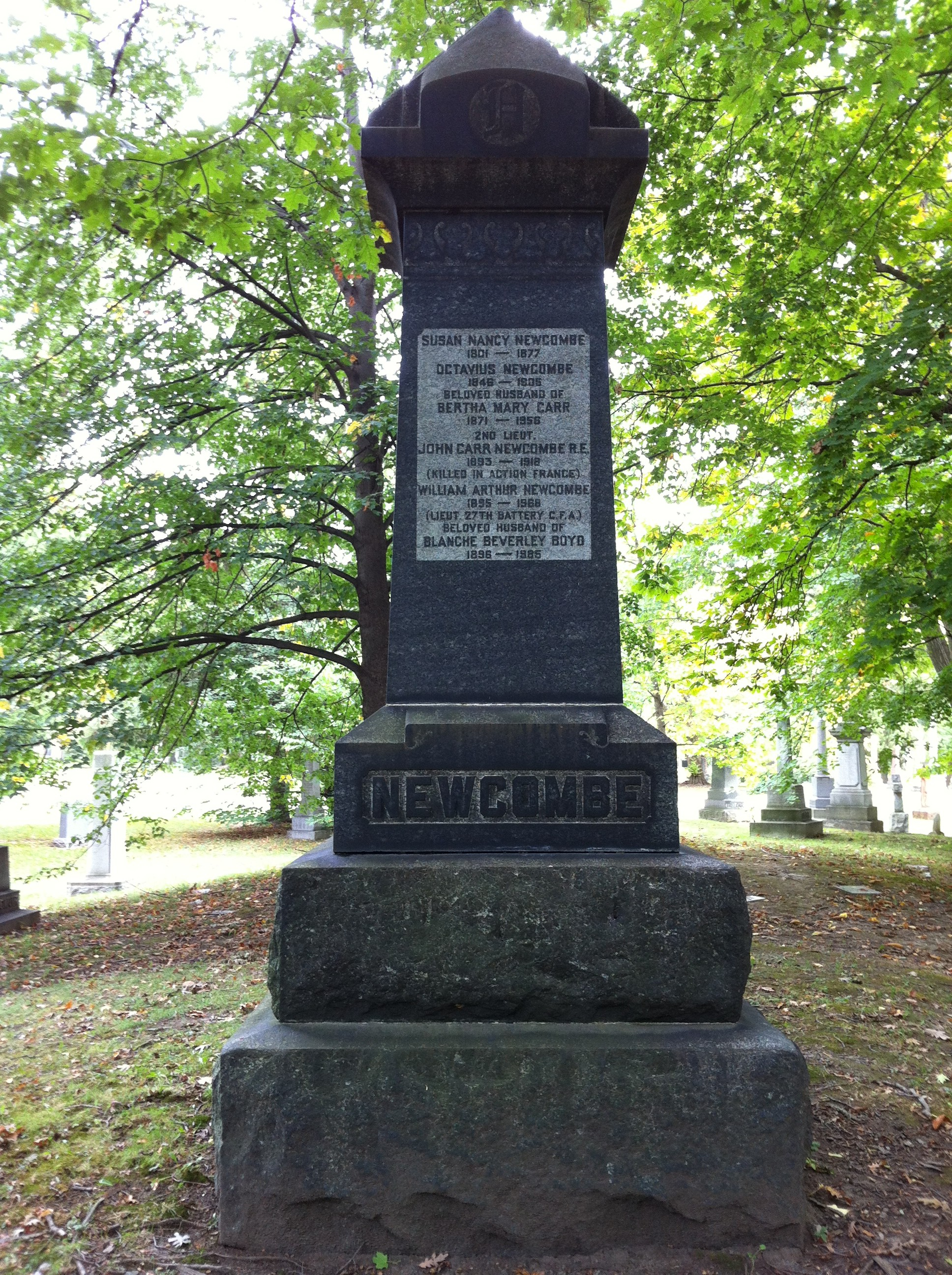 Tombstone at Mount Pleasant Cemetery - Susan Nankivell (1801-1877)