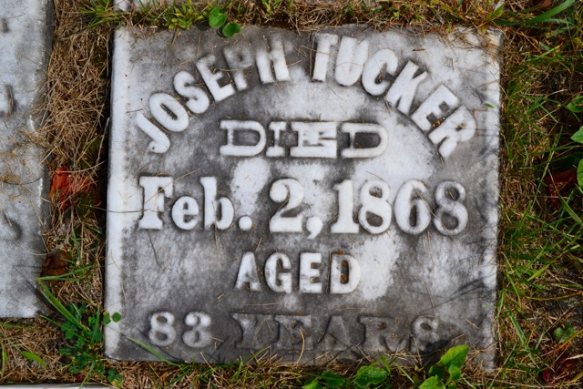 Headstone of Joseph Tucker (1785-1868) | Photo by B. Bowen 8 Sep 2016 - with permission