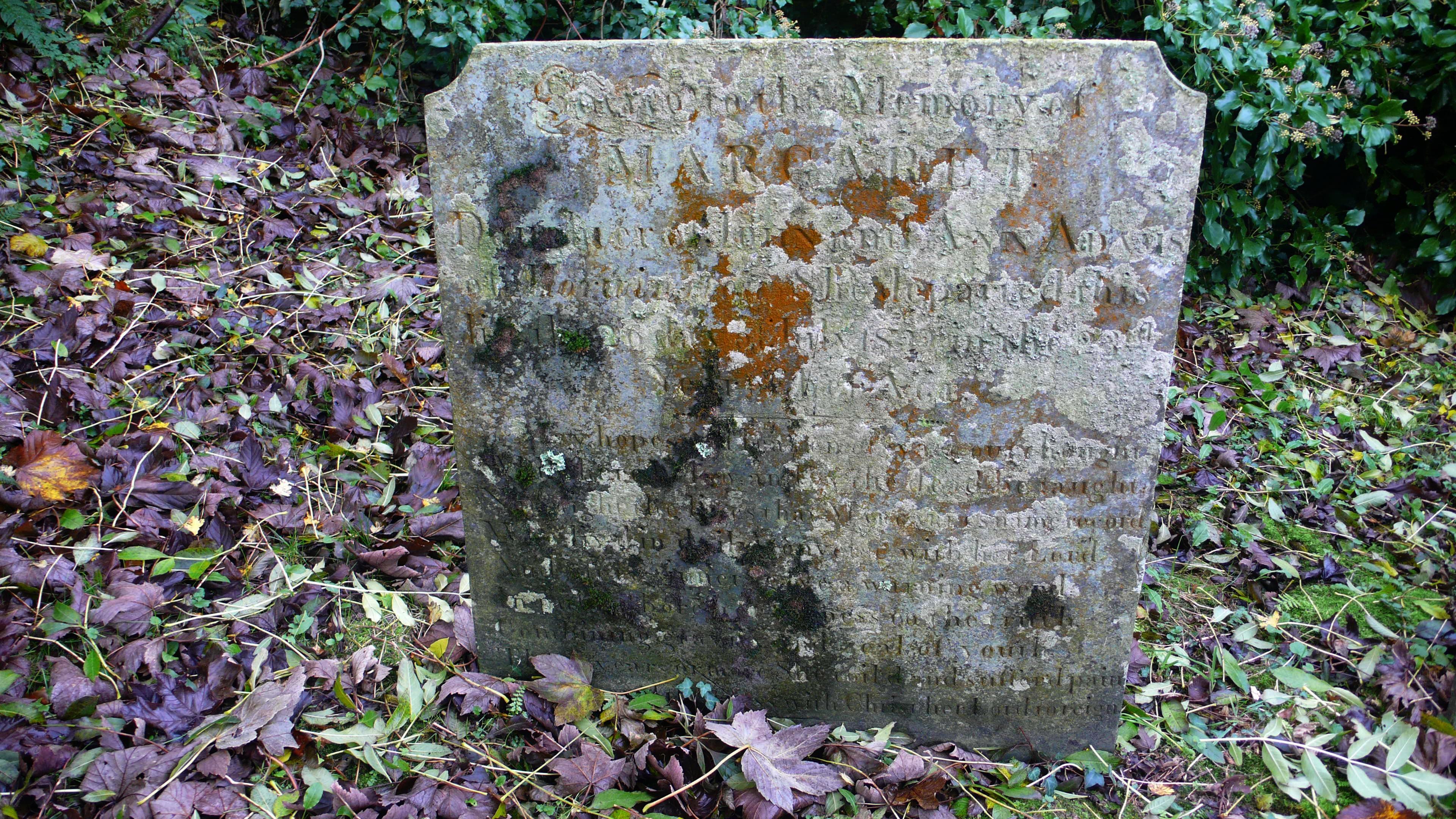 Tombstone at Edistone Chapel - Margaret Adams (1799-1822)