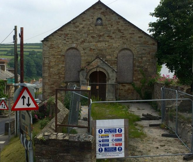 Bodmin Bible Christian Chapel. This former Baptist Christian Chapel was built in 1851 and then became a St Johns Ambulance Hall. In 2014 the building went  for sale with planning but I guess there were no takers because it remains in this state in 2016.