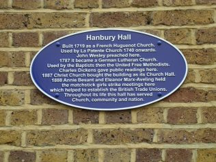 Blue plaque on the wall of Hanbury Hall, Spitalfields