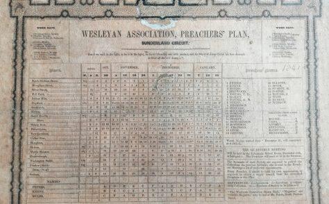 Sunderland Wesleyan Association Preaching Plan 1841- 1842