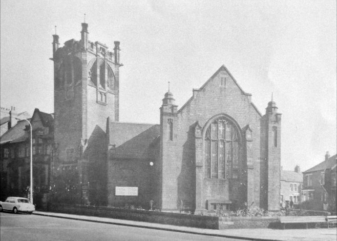 The rebuilt church on the site of the former chapel | Image from the collections of the Newcastle upon Tyne District Archives