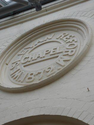 4 Northampton Wellingborough Road Wesleyan Reform Chapel, name and date roundel, 10.7.2019