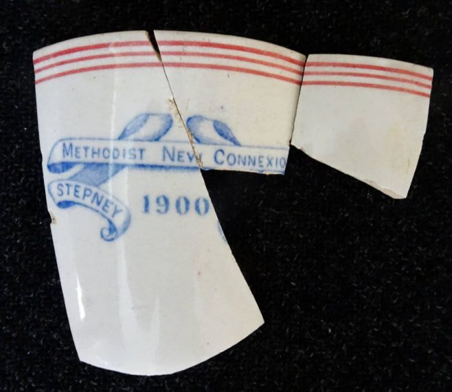 plate fragment from Stepney Methodist New Connexion chapel,1900 found in South Cave | Gerald Bisby September 2021