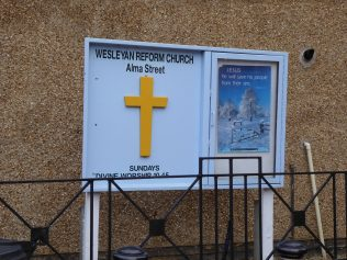 4 Wellingborough Alma Street Independent Wesleyan Chapel, notice board 3.1.2019