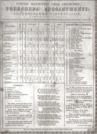 United Methodist Free Churches Loughborough Circuit preaching plan, 1878