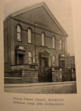 Rochdale Baillie Street United Methodist Church -after the 1912 modernisation with two extra doors and steps