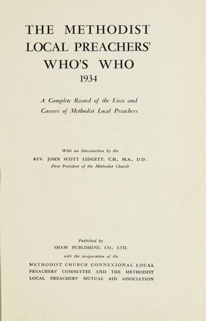 The Methodist Local Preachers' Who's Who 1934 | Shaw Publishing, 1934