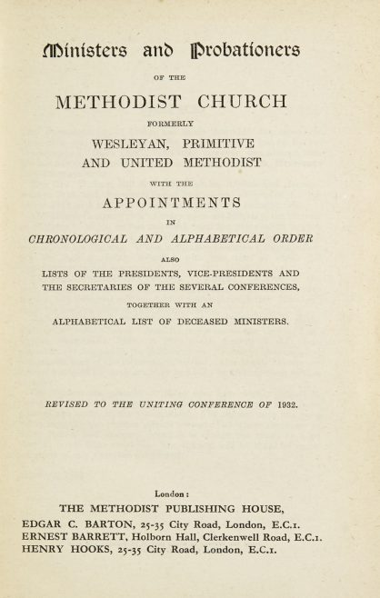 Ministers and probationers of the Methodist Church 1932 | Methodist Publishing House, 1932