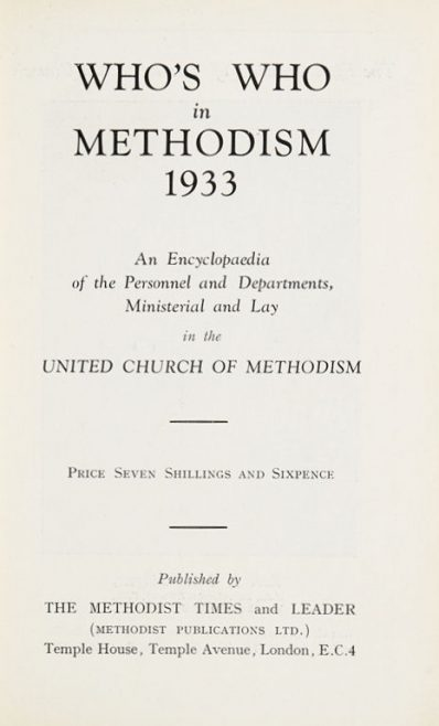 Who's Who in Methodism 1933 | Methodist Times and Leader, 1933