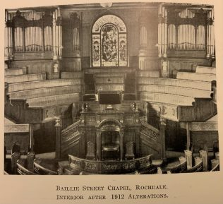 The interior of Baillie Street United Methodist Church Rochdale after the 1912 modernisation