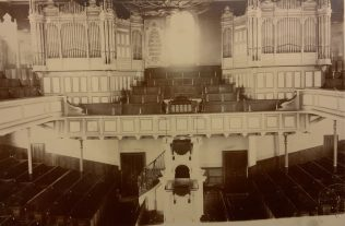 The interior of Baillie Street United Methodist Church Rochdale before  the 1912 modernisation